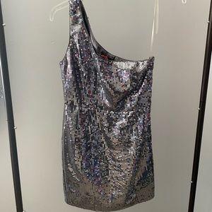 Asymmetrical sequins dress